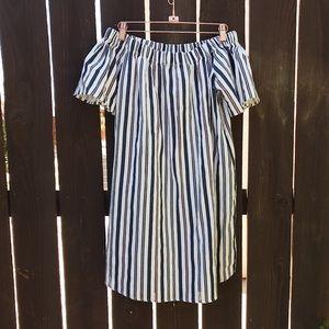 Love striped off the shoulder dress